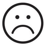 Sad face icon. Unhappy face symbol.